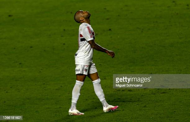 Dani Alves of Sao Paulo reacts during a match between Sao Paulo and Fortaleza as part of Brasileirao Series A 2020 at Morumbi Stadium on August 13,...