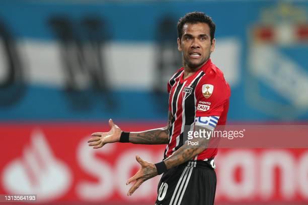 Dani Alves of Sao Paulo reacts during a match between Sporting Cristal and Sao Paulo as part of Group E of Copa CONMEBOL Libertadores 2021 at Estadio...