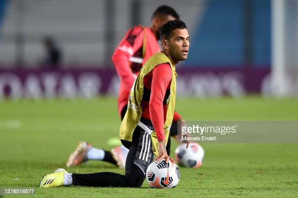 Dani Alves of Sao Paulo warms up prior to a match between Racing Club and Sao Paulo as part of Group E of Copa CONMEBOL Libertadores 2021 at...