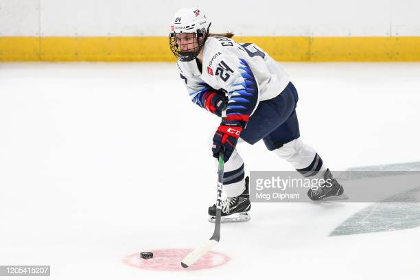 Dani Cameranesi of the U.S. Women's Hockey Team handles the puck in the second period against the Canadian Women's National Team at Honda Center on...