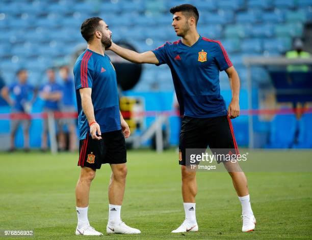 Dani Carvajal and Marco Asensio of Spain talk during a training session at Fisht Stadium on June 14 2018 in Sochi Russia