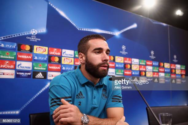 Dani Carvajal attends a Real Madrid press conference ahead of their UEFA Champions League Group H match against Borussia Dortmund at Signal Iduna...