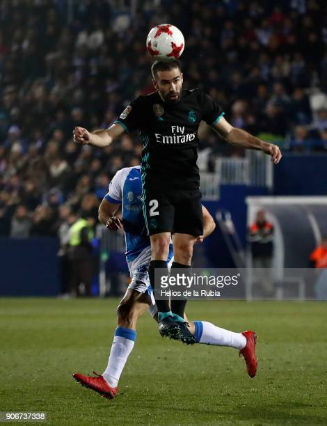 Dani Carvajal controls the ball during the Spanish Copa del Rey Quarter Final First Leg match between Leganes and Real Madrid at Estadio Municipal de...