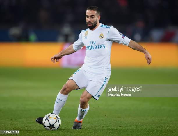 Dani Carvajal of Madrid controls the ball during the UEFA Champions League Round of 16 Second Leg match between Paris SaintGermain and Real Madrid at...