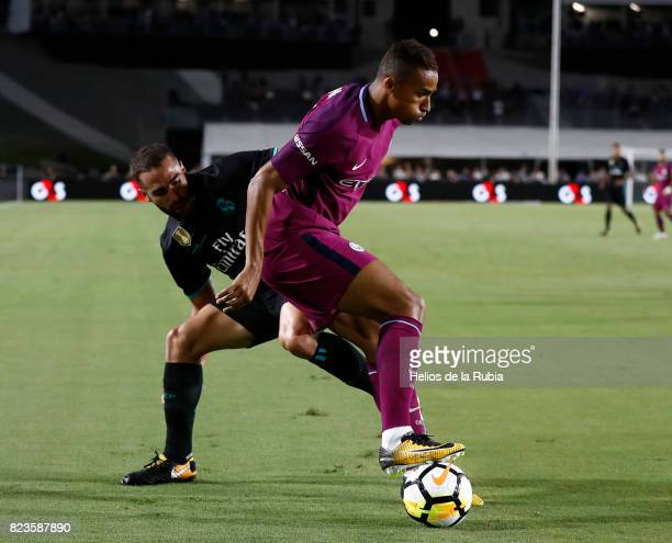 Dani Carvajal of Real Madrid and Danilo of MAnchester City compete for the ball during the International Champions Cup 2017 match between Manchester...