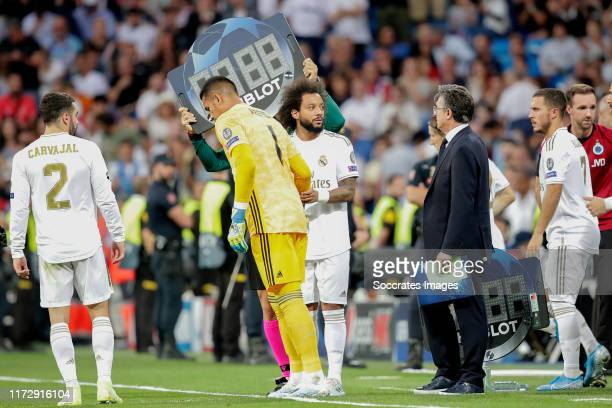 Dani Carvajal of Real Madrid Areola of Real Madrid Marcelo of Real Madrid during the UEFA Champions League match between Real Madrid v Club Brugge at...