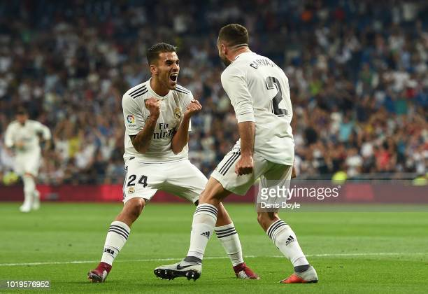 Dani Carvajal of Real Madrid celebrates with teammate Daniel Ceballos of Real Madrid after scoring his teams opening goal during the La Liga match...