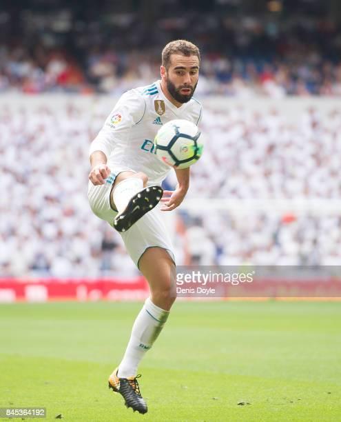 Dani Carvajal of Real Madrid CF controls the ball during the La Liga match between Real Madrid and Levante at Estadio Santiago Bernabeu on September...