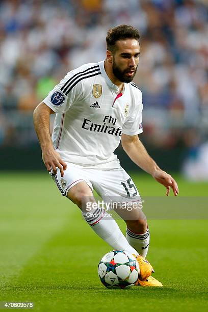 Dani Carvajal of Real Madrid CF in action during the UEFA Champions League quarterfinal second leg match between Real Madrid CF and Club Atletico de...