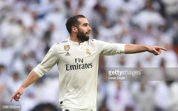 Dani Carvajal of Real Madrid CF reacts during the La Liga match between Real Madrid CF and Sevilla FC at Estadio Santiago Bernabeu on January 19 2019...
