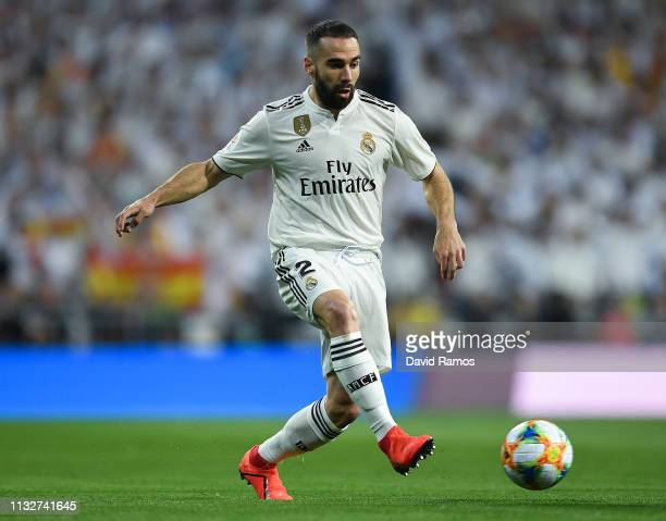 Dani Carvajal of Real Madrid CF runs with the ball during the Copa del Semi Final match second leg between Real Madrid and Barcelona at Bernabeu on...