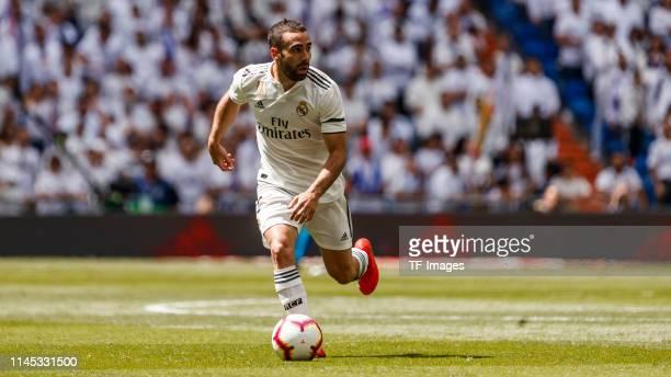Dani Carvajal of Real Madrid controls the ball during the La Liga match between Real Madrid CF and Real Betis Balompie at Estadio Santiago Bernabeu...