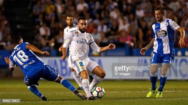 Dani Carvajal of Real Madrid controls the ball during the La Liga match between Deportivo La Coruna and Real Madrid at Riazor Stadium on August 20...