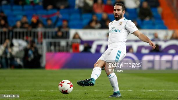 Dani Carvajal of Real Madrid controls the ball during the Spanish Copa del Rey match between Real Madrid and Numancia at Santiago Bernabeu on January...