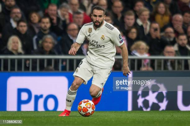 Dani Carvajal of Real Madrid controls the ball during the UEFA Champions League Round of 16 Second Leg match between Real Madrid and Ajax at Santiago...