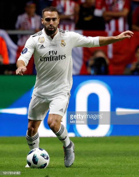 Dani Carvajal of Real Madrid controls the ball during the UEFA Super Cup match between Real Madrid and Atletico Madrid at Lillekula Stadium on August...