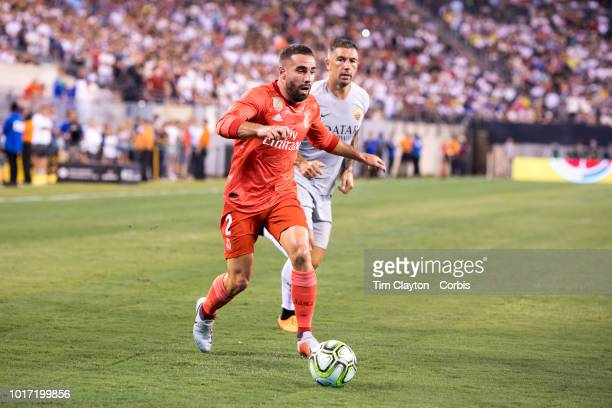 Dani Carvajal of Real Madrid defended by Aleksandar Kolarov of AS Roma during the Real Madrid vs AS Roma International Champions Cup match at MetLife...