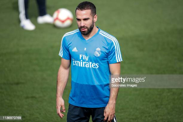 Dani Carvajal of Real Madrid during the Training session Real Madrid on April 14 2019 in Madrid Spain