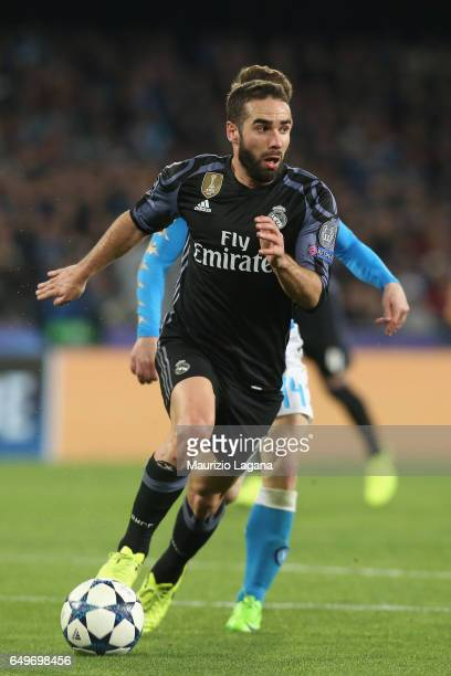 Dani Carvajal of Real Madrid during the UEFA Champions League Round of 16 second leg match between SSC Napoli and Real Madrid CF at Stadio San Paolo...