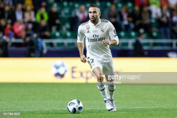 Dani Carvajal of Real Madrid during the UEFA Super Cup match between Real Madrid and Atletico Madrid on August 15 2018 at Lillekula Stadium in...