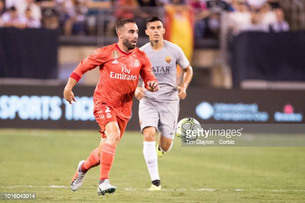 Dani Carvajal of Real Madrid in action during the Real Madrid vs AS Roma International Champions Cup match at MetLife Stadium on August 7 2018 in...