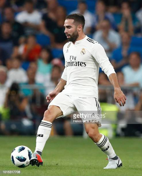 Dani Carvajal of Real Madrid in action during the Trofeo Santiago Bernabeu match between Real Madrid and AC Milan at Estadio Santiago Bernabeu on...