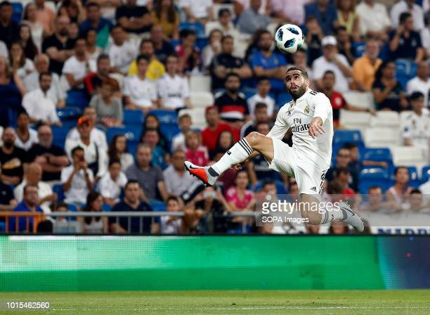 Dani Carvajal of Real Madrid in action during the Trofeo Santiago Bernabeu match between Real Madrid and AC Milan at Estadio Santiago Bernabeu