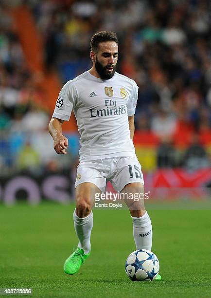 Dani Carvajal of Real Madrid in action during the UEFA Champions League Group A match between Real Madrid and Shakhtar Donetsk at estadio Santiago...
