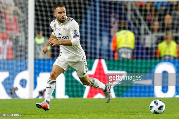 Dani Carvajal of Real Madrid in action during the UEFA Super Cup match between Real Madrid and Atletico Madrid on August 15 2018 at Lillekula Stadium...