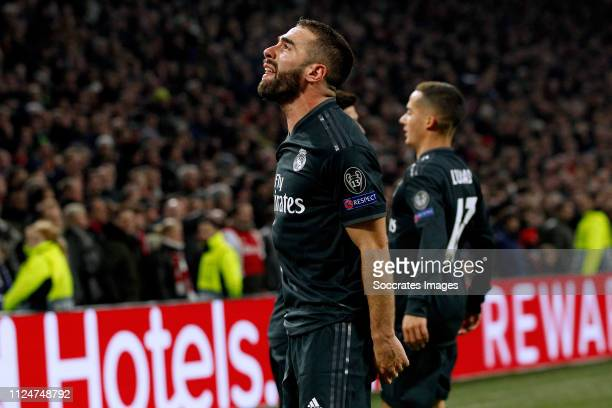 Dani Carvajal of Real Madrid Lucas Vazquez of Real Madrid celebrate 21 during the UEFA Champions League match between Ajax v Real Madrid at the Johan...