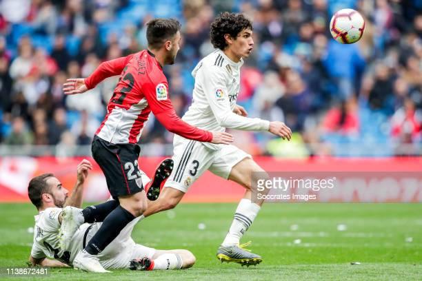 Dani Carvajal of Real Madrid Unai Lopez of Athletic Bilbao Jesus Vallejo of Real Madrid during the La Liga Santander match between Real Madrid v...