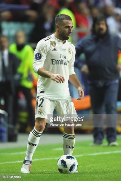 Dani Carvajal of Real runs with the ball during the UEFA Super Cup between Real Madrid and Atletico Madrid at Lillekula Stadium on August 15 2018 in...