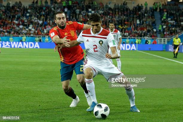 Dani Carvajal of Spain Achraf Hakimi of Morocco during the World Cup match between Spain v Morocco at the Kaliningrad Stadium on June 25 2018 in...