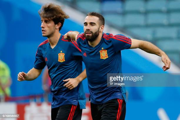 Dani Carvajal of Spain and Alvaro Odriozola of Spain warm up during a training session at Fisht Stadium on June 14 2018 in Sochi Russia