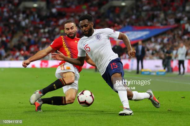 Dani Carvajal of Spain and Danny Rose of England battle for the ball during the UEFA Nations League A group four match between England and Spain at...