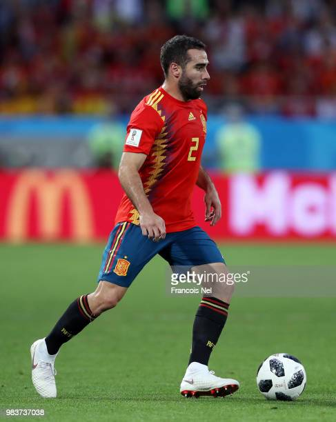 Dani Carvajal of Spain during the 2018 FIFA World Cup Russia group B match between Spain and Morocco at Kaliningrad Stadium on June 25 2018 in...