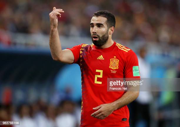 Dani Carvajal of Spain gestures during the 2018 FIFA World Cup Russia group B match between Spain and Morocco at Kaliningrad Stadium on June 25 2018...