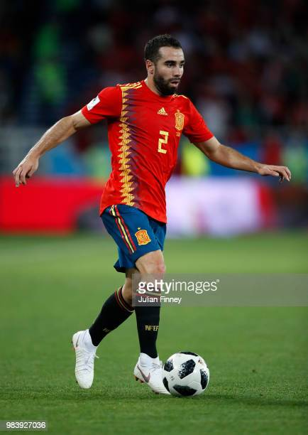 Dani Carvajal of Spain in action during the 2018 FIFA World Cup Russia group B match between Spain and Morocco at Kaliningrad Stadium on June 25 2018...