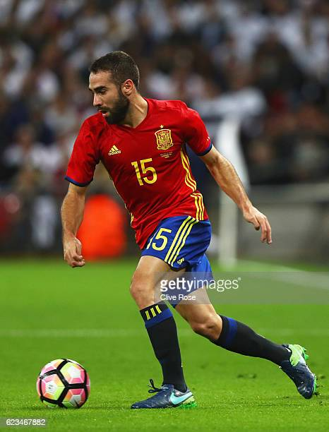Dani Carvajal of Spain in action during the international friendly match between England and Spain at Wembley Stadium on November 15 2016 in London...