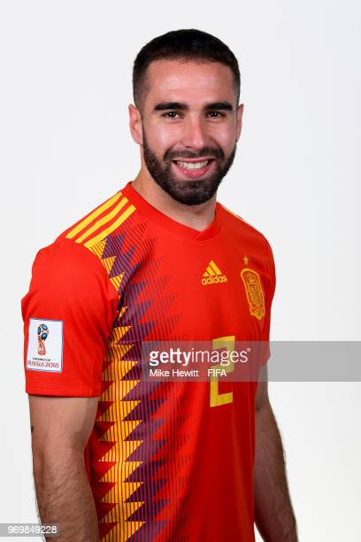 Dani Carvajal of Spain poses for a portrait during the official FIFA World Cup 2018 portrait session at FC Krasnodar Academy on June 8 2018 in...
