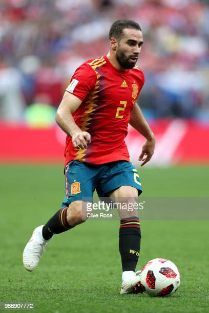 Dani Carvajal of Spain runs with the ball during the 2018 FIFA World Cup Russia Round of 16 match between Spain and Russia at Luzhniki Stadium on...