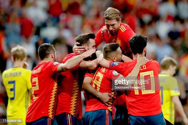 Dani Carvajal of Spain Sergio Ramos of Spain Jordi Alba of Spain Isco of Spain Daniel Parejo of Spain celebrates during the EURO Qualifier match...