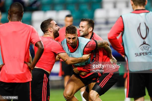 Dani Carvajal Sergio Ramos and Nacho of Real Madrid during a Real Madrid training session ahead of the UEFA Super Cup match against Atletico Madrid...