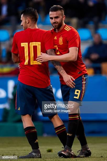 Dani Ceballos and Borja Mayoral of Spain U21 react during the 2019 UEFA Under 21 qualification match between Spain U21 and Estonia U21 at Toralin...