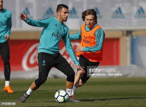 Dani Ceballos and Luka Modric of Real Madrid in action during a training session at Valdebebas training ground on February 17 2018 in Madrid Spain