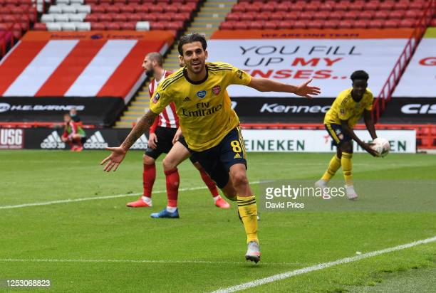 Dani Ceballos celebrates scoring Arsenal's 2nd goal during the FA Cup Fifth Quarter Final match between Sheffield United and Arsenal FC at Bramall...
