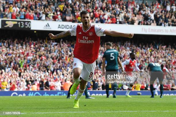 Dani Ceballos celebrates the 2nd Arsenal goal during the Premier League match between Arsenal FC and Burnley FC at Emirates Stadium on August 17,...