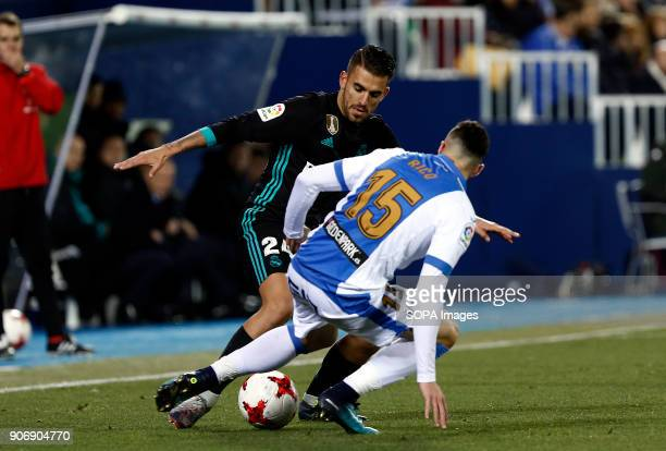 STADIUM LEGANéS MADRID SPAIN Dani Ceballos competes for the ball with Diego Rico during the match Jan 2018 Leganés and Real Madrid CF at Butarque...