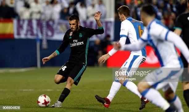 STADIUM LEGANéS MADRID SPAIN Dani Ceballos competes for the ball with Gumbau during the match Jan 2018 Leganés and Real Madrid CF at Butarque Stadium...