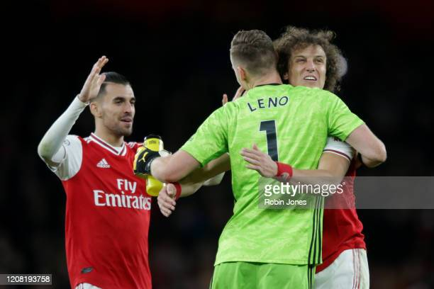 Dani Ceballos David Luiz and Bernd Leno of Arsenal after their sides 32 defeat during the Premier League match between Arsenal FC and Everton FC at...